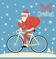 santa riding bicycle vector image vector image