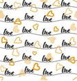seamless pattern gold hearts and word love vector image