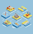 Seaport Isometric Elements Collection vector image vector image