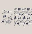 seasons greetings card and pattern vector image vector image