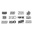 set 2020 happy new year signs vector image