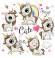 set of cute unicorns isolated on a white vector image