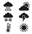 set of weather icons on white background vector image