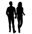 silhouette of guy and girl going hand in hand vector image vector image