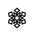 snowflake black on white isolated vector image vector image