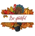 Template with Thanksgiving icons vector image vector image