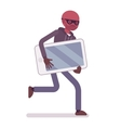 Thief in a black mask stole smartphone and is vector image vector image
