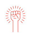 thin line red hand up icon vector image vector image