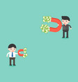 two businessman using magnet finding money which vector image