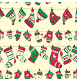 Winter seamless pattern with red green socks vector image