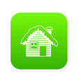 wooden house covered with snow icon digital green vector image