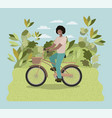 young man in bicycle on park vector image
