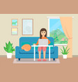 young woman working at home flat style vector image