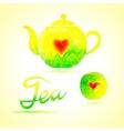 Tea set Design elements painted in watercolor vector image