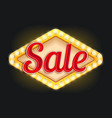 sale neon light lamp retro signboard icon vector image