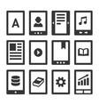 digital e-book reader icons set vector image