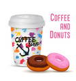 3d realistic coffee mug with donut vector image vector image