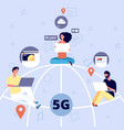 5g people on globe with devices with 5g mobile vector image vector image