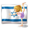 A gymnast in front of the Israel flag vector image vector image