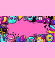 background with cartoon musical items vector image vector image