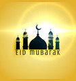 beautiful mosque design for eid festival greeting vector image vector image