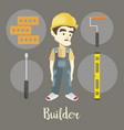 builder on a dark background vector image vector image