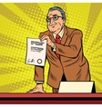 Business boss with a contract vector image
