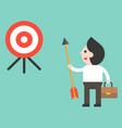 businessman holding arrow and look at target vector image vector image