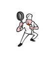 Chef Cook Holding Frying Pan Kung Fu Stance vector image vector image