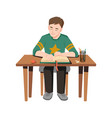 child boy reading book sitting at table isolated vector image