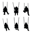 child silhouette on the swing is having fun vector image vector image
