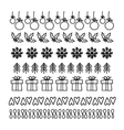 christmas hand drawn set line frames vector image