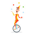 circus juggler with balls rides on a unicycle vector image