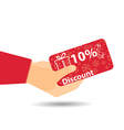 Discount coupons in hand 10-percent discount vector image vector image
