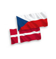 flags denmark and czech republic on a white vector image vector image