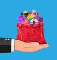 gift boxes in cloth bag in hand vector image