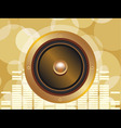 gold speaker with equalizer background and glowing vector image vector image