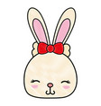 grated shy rabbit head female wild animal vector image vector image