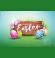 happy easter holiday with painted egg vector image vector image