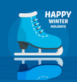 happy winter holidays skating concept background vector image vector image