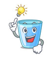 have an idea glass of mineral water on cartoon vector image