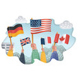 human hands holds flag of different countries vector image