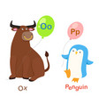 isolated alphabet letter o-oxp-penguin vector image vector image