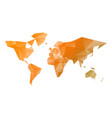 low poly map of world in shades of orange vector image vector image