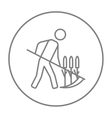 Man mowing grass with scythe line icon vector image vector image
