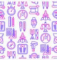 measuring seamless pattern with thin line icons vector image
