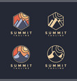 minimalist summit landscape logo set vector image