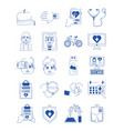 online doctor health medicine care blue line style vector image
