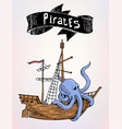 pirates drawn ship with sign sea advertising vector image