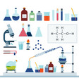 set chemical laboratory flat vector image